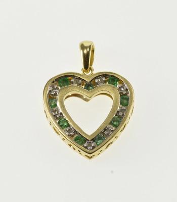 10K Emerald Diamond Channel Inset Squared Heart Yellow Gold Pendant