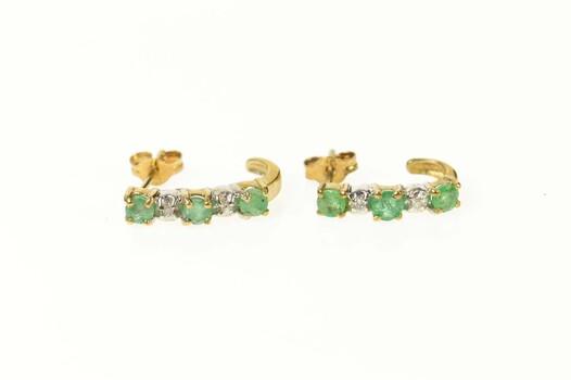 10K Emerald Diamond Semi Hoop Curved Bar Yellow Gold Earrings