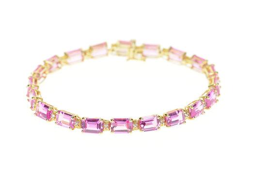 "10K Emerald Pink Topaz Diamond Accent Tennis Yellow Gold Bracelet 7.25"""