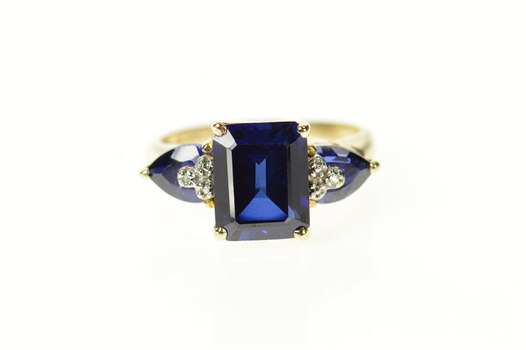 10K Emerald Syn. Sapphire Diamond Accent Yellow Gold Ring, Size 5.75
