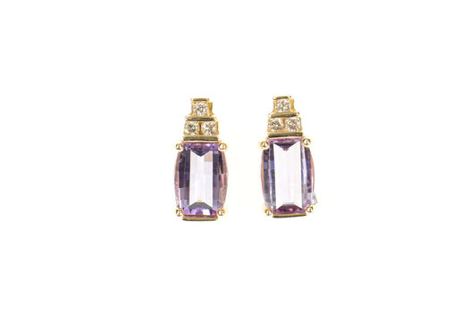 10K Faceted Amethyst Diamond Accent Squared Yellow Gold Earrings