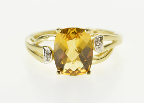 10K Faceted Citrine Diamond Accented Freeform Yellow Gold Ring, Size 6.75