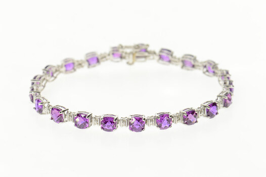 10K Faceted Cushion Amethyst Diamond Accent White Gold Bracelet 7.25""