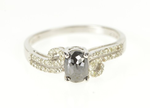 10K Faceted Hematite Diamond Wavy Engagement White Gold Ring, Size 7.75
