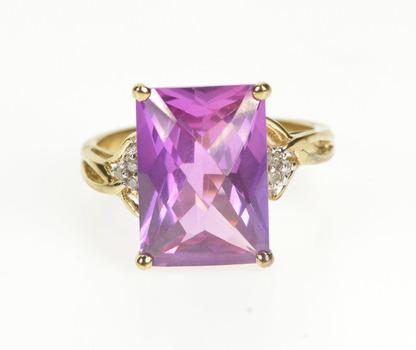10K Faceted Pink Tourmaline Diamond Fashion Yellow Gold Ring, Size 7