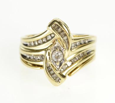 10K Freeform Diamond Bridal Set Engagement Yellow Gold Ring, Size 7