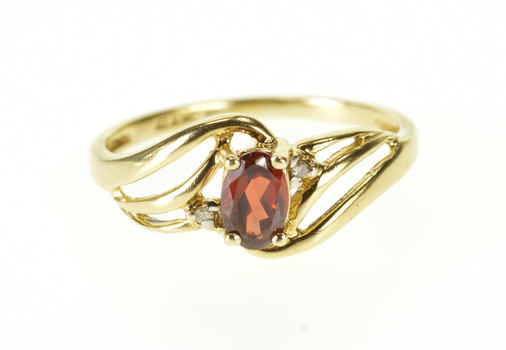 10K Garnet Diamond Accent Three Stone Wavy Design Yellow Gold Ring, Size 7