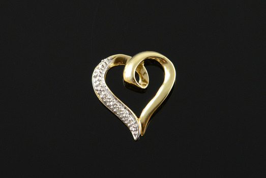 10K Genuine Diamond Accented Heart Outline Yellow Gold Pendant