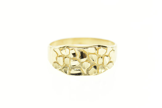 10K Graduated Textured Nugget Men's Statement Yellow Gold Ring, Size 10