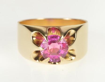 10K Gypsy Set Syn. Pink Sapphire Men's Fashion Yellow Gold Ring, Size 9.75