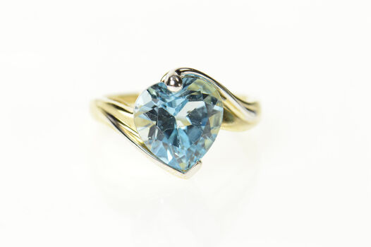 10K Heart Blue Topaz Two Tone Ornate Bypass Yellow Gold Ring, Size 7