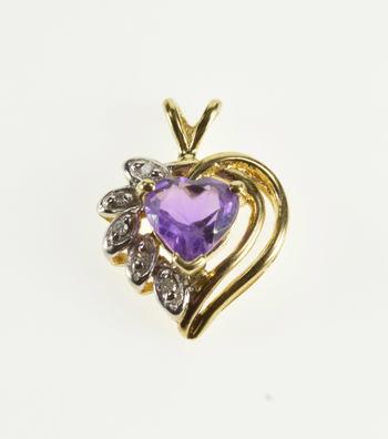 10K Heart Cut Amethyst Diamond Accented Yellow Gold Pendant