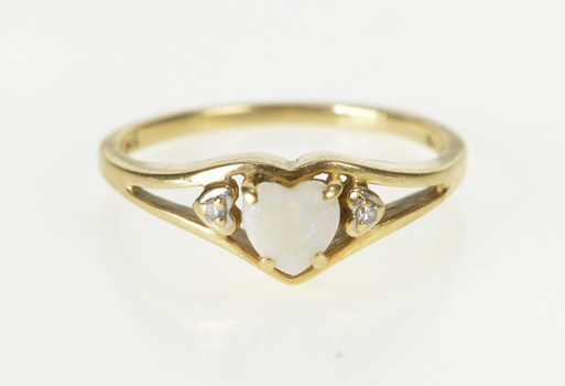 10K Heart Cut Natural Opal Diamond Accent Yellow Gold Ring, Size 6.5