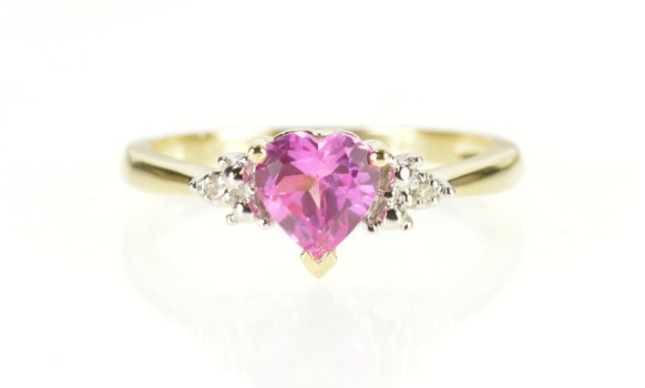 10K Heart Cut Syn. Pink Topaz Diamond Accent Yellow Gold Ring, Size 7