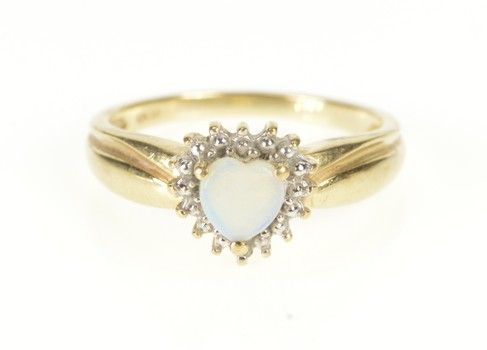 10K Heart Natural Opal Diamond Accent Promise Yellow Gold Ring, Size 6.5