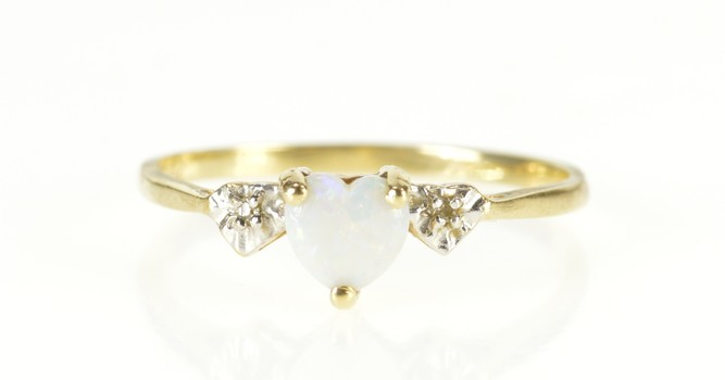 10K Heart Opal Diamond Accent Promise Yellow Gold Ring, Size 6.75