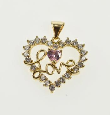 10K Heart Pink Cubic Zirconia Love Romantic Gift Yellow Gold Charm/Pendant