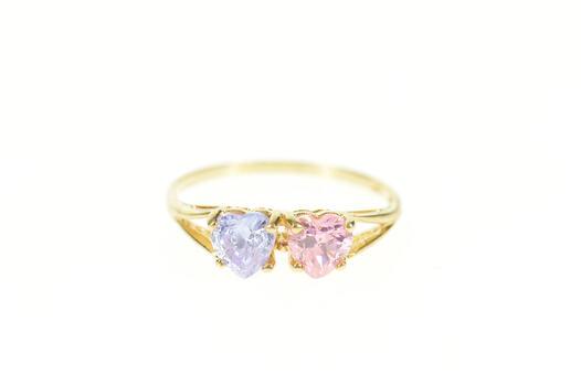 10K Heart Pink & Purple Cubic Zirconia Statement Yellow Gold Ring, Size 7