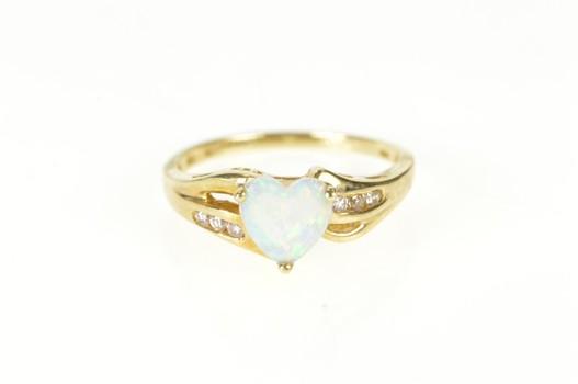 10K Heart Sim. Opal CZ Channel Accent Bypass Yellow Gold Ring, Size 7