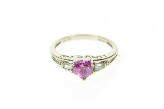 10K Heart Syn. Pink Topaz CZ Baguette Accent White Gold Ring, Size 7