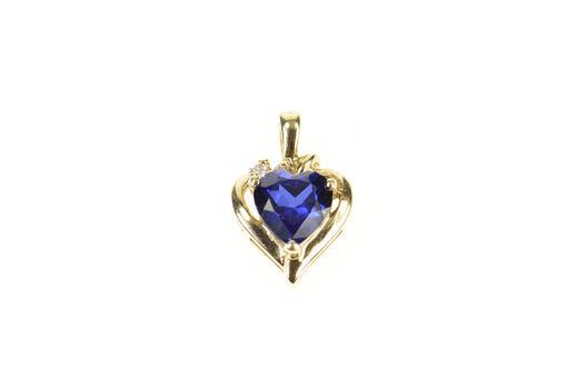 10K Heart Syn. Sapphire Diamond Accent Yellow Gold Pendant