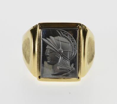 10K Hematite Carved Intaglio Textured Men's Yellow Gold Ring, Size 10.25