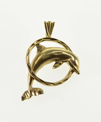 10K High Relief Dolphin Jumping Through Ring Yellow Gold Pendant