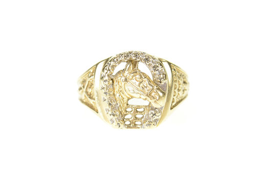 10K Horse Shoe Lucky Men's Good Luck Statement Yellow Gold Ring, Size 9.75