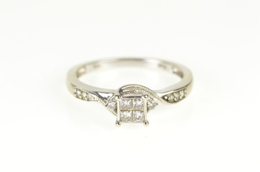 10K Invisible Set Diamond Cluster Engagement White Gold Ring, Size 7