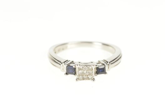 10K Invisible Set Diamond Sapphire Engagement White Gold Ring, Size 7