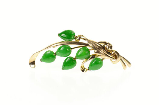 10K Jade Floral Cluster Swirl Statement Yellow Gold Pin/Brooch