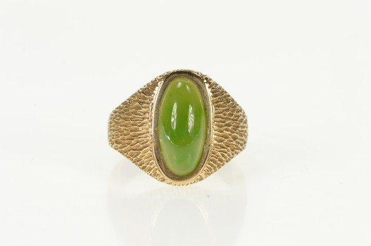 10K Jade Retro Grooved Textured Men's Statement Yellow Gold Ring, Size 10.75