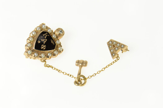 10K Kappa Alpha Phi Fraternity Ornate Lapel Yellow Gold Pin/Brooch