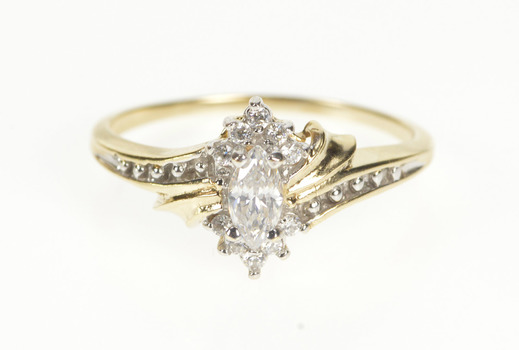 10K Marquise Cubic Zirconia Accent Bypass Yellow Gold Ring, Size 7
