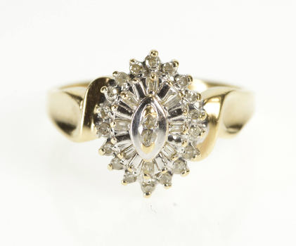 10K Marquise Diamond Cluster Freeform Fashion Yellow Gold Ring, Size 7