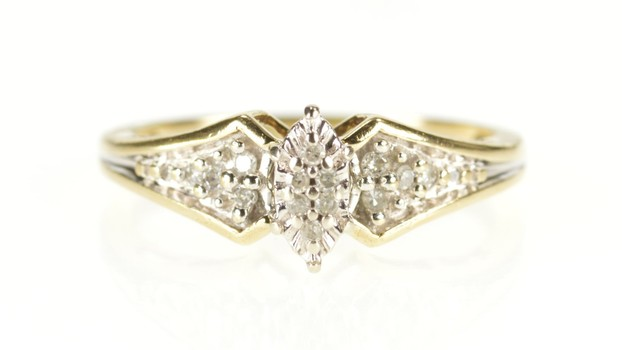 10K Marquise Diamond Cluster Promise Anniversary Yellow Gold Ring, Size 6.5