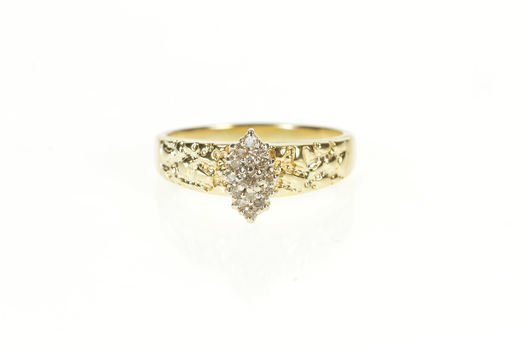 10K Marquise Diamond Cluster Textured Nugget Yellow Gold Ring, Size 8.75