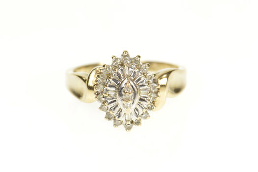 10K Marquise Diamond Halo Cluster Statement Yellow Gold Ring, Size 6.5