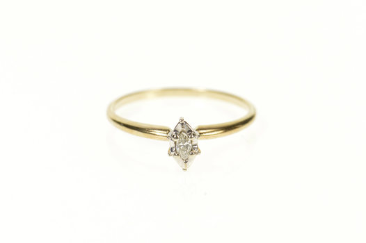 10K Marquise Diamond Solitaire Classic Promise Yellow Gold Ring, Size 6.25