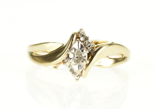 10K Marquise Diamond Three Stone Promise Bypass Yellow Gold Ring, Size 7