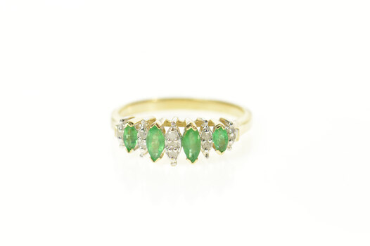 10K Marquise Emerald Diamond Accent Band Yellow Gold Ring, Size 6.75