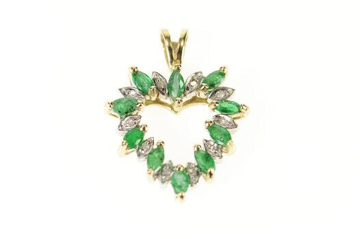 10K Marquise Emerald Diamond Accent Heart Yellow Gold Pendant