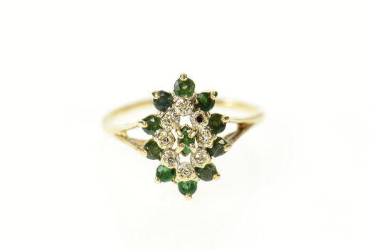 10K Marquise Emerald Diamond Halo Cocktail Yellow Gold Ring, Size 9.5