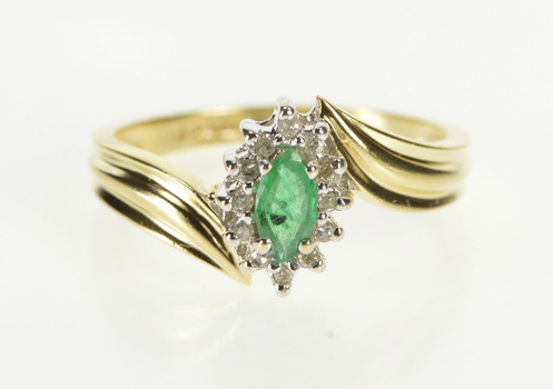 10K Marquise Emerald Diamond Halo Freeform Bypass Yellow Gold Ring, Size 6