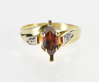 10K Marquise Garnet Diamond Accent High Bridge Yellow Gold Ring, Size 5.5