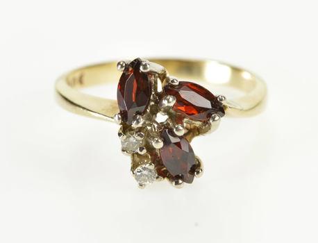 10K Marquise Garnet Diamond Cluster Fashion Yellow Gold Ring, Size 6.25