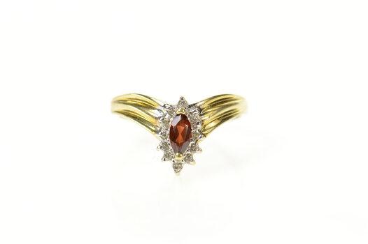 10K Marquise Garnet Diamond Halo Chevron Yellow Gold Ring, Size 7