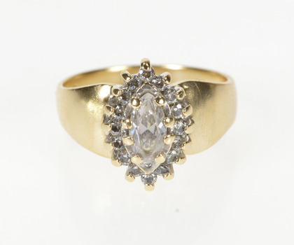 10K Marquise Halo Ornate Travel Engagement Yellow Gold Ring, Size 7.5