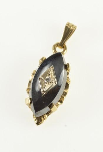 10K Marquise Hematite Diamond Retro Yellow Gold Pendant