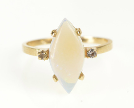 10K Marquise Natural Opal Diamond Accent Yellow Gold Ring, Size 5.75